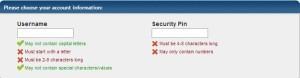 Username dan security Pin untuk daftar Hosting Hostgator